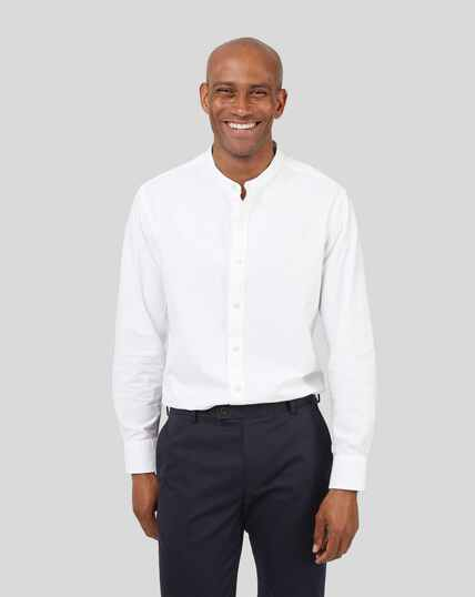 Collarless Cotton Linen Shirt - White