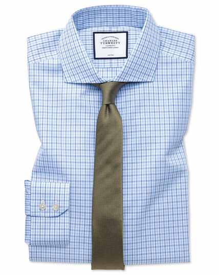Extra slim fit non-iron blue and sky blue check shirt
