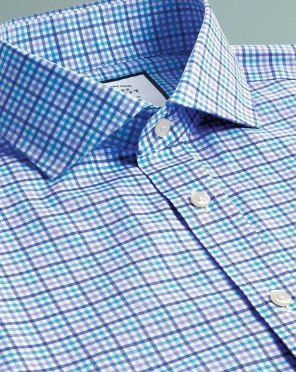 Classic fit non-iron Tyrwhitt Cool poplin purple multi shirt