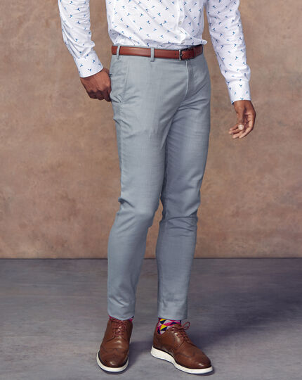 Non-Iron Twill Texture Pants - Light Blue