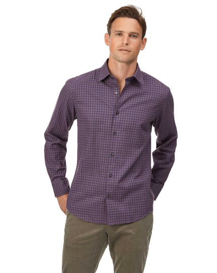Cotton With Tencel™ Check Shirt - Purple
