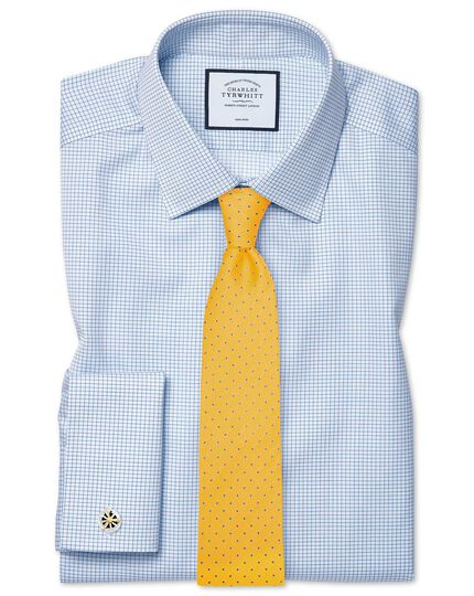 Yellow and sky blue silk textured spot stain resistant classic tie