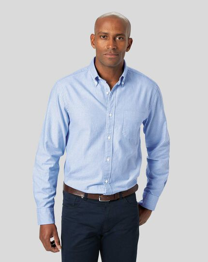 Button-Down Collar Washed Oxford Bengal Stripe Shirt - Blue & White