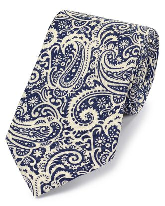 Navy and white silk paisley print English luxury tie