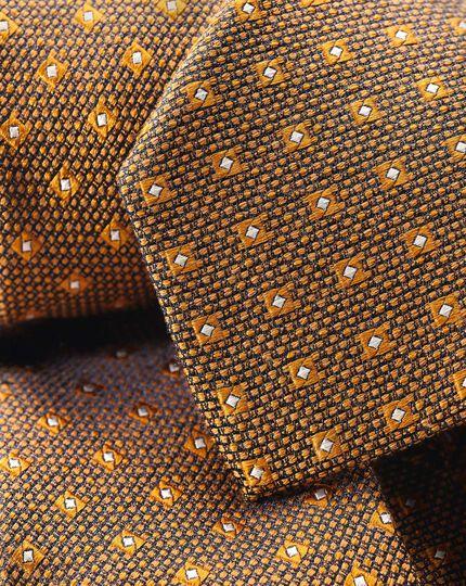 Silk Wool Textured Classic Tie - Gold