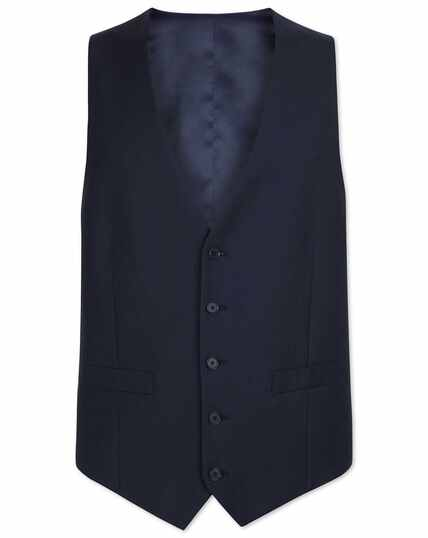 Navy adjustable fit herringbone business suit waistcoat