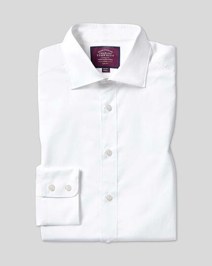 Chemise en twill luxueux à col semi cutaway  - Blanc