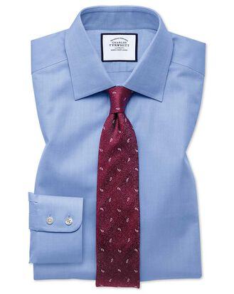 Classic fit fine herringbone sky shirt