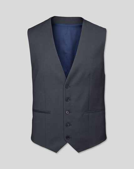 Business Suit Textured Waistcoat - Steel Grey