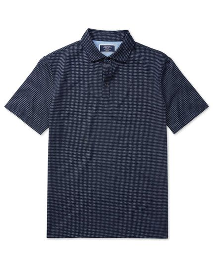 Blue square jacquard short sleeve polo