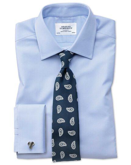 Luxuriöse englische Seidenkrawatte in Marineblau und Weiß mit Paisley Muster