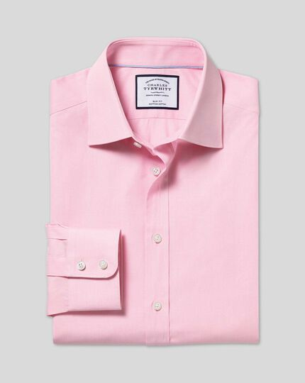 Semi-Spread Collar Egyptian Cotton Poplin Shirt - Pink
