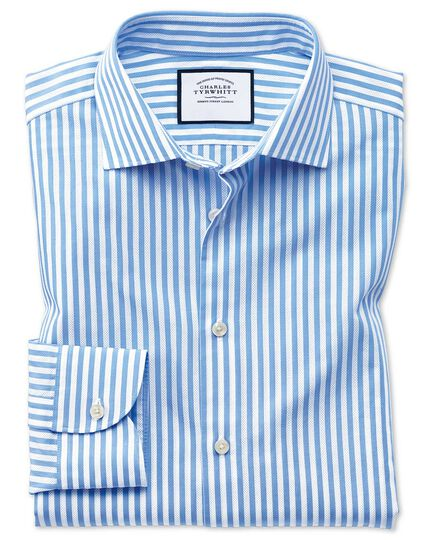 Slim fit business casual leno texture stripe sky blue and white shirt