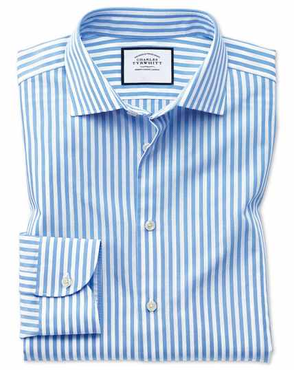 Extra slim fit business casual leno texture stripe sky blue and white shirt