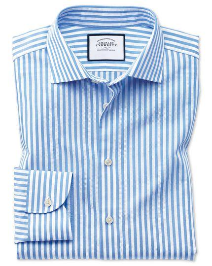 Business-Casual Extra Slim Fit Hemd mit Dreherstruktur und Streifen in Himmelblau & Weiß