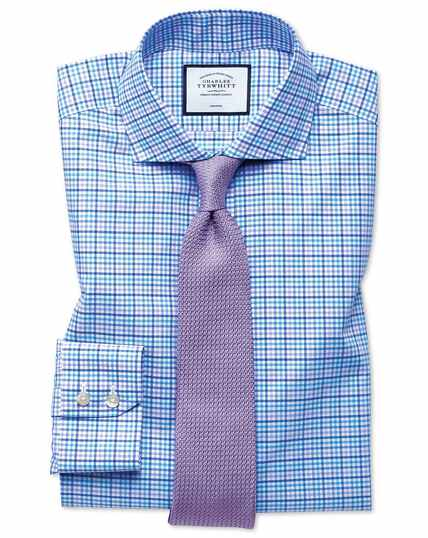 Slim fit non-iron Tyrwhitt Cool poplin purple check shirt