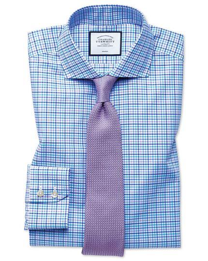 Slim fit non-iron Tyrwhitt Cool poplin purple check shirt