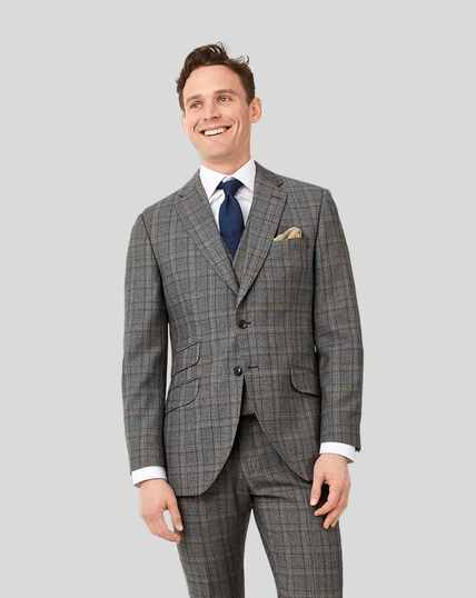 British Luxury Check Suit Jacket - Grey & Tan