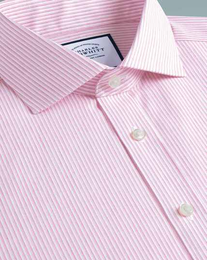 Cutaway Non-Iron Soft Twill Stripe Shirt - Pink