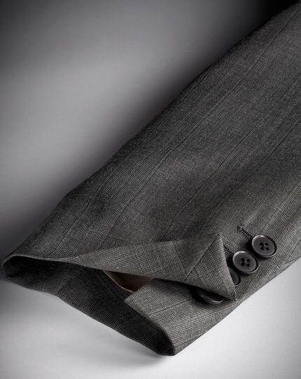 Grey slim fit luxury Italian check suit jacket