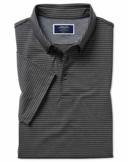 Charcoal stripe jersey polo