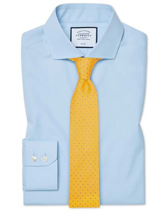 Slim fit spread collar non-iron natural cool sky blue shirt