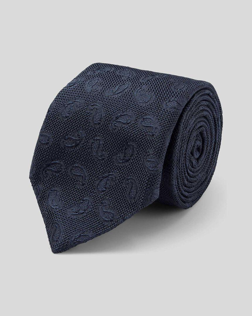 Silk Grenadine Jacquard Italian Luxury Tie - Navy