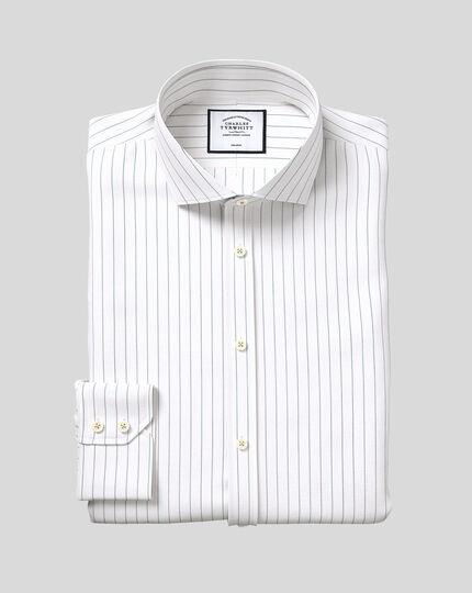 Spread Collar Non-Iron Cotton Stretch Oxford Fine Stripe Shirt - Green
