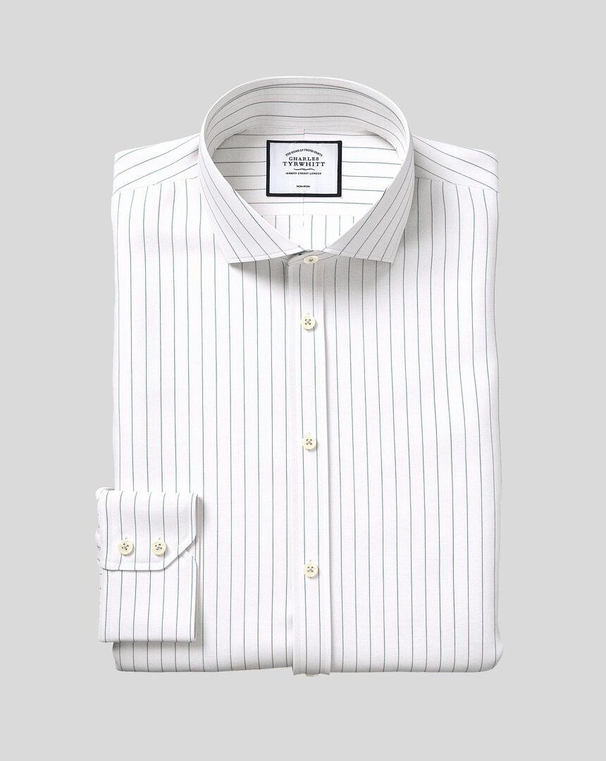 Bügelfreies Oxford Hemd aus Stretch-Baumwolle mit Haifischkragen und feinen Streifen - Grün