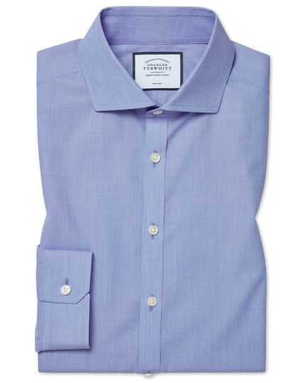 Super slim fit non-iron 4-way stretch blue shirt