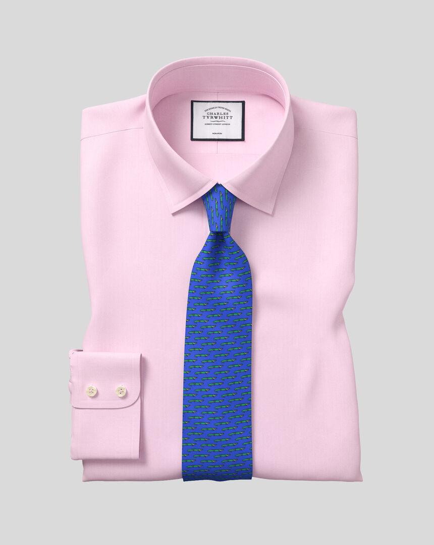 Bügelfreies Twill Hemd mit Kent Kragen  - Rosa