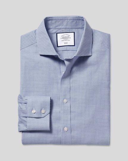 Cutaway Collar Non-Iron Cotton Stretch Check Shirt - Blue