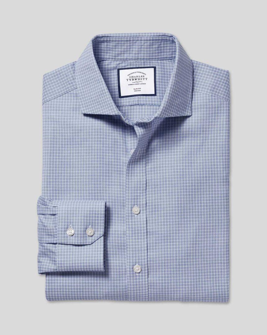 Bügelfreies Stretch-Baumwollhemd mit Haifischkragen und Karos - Blau