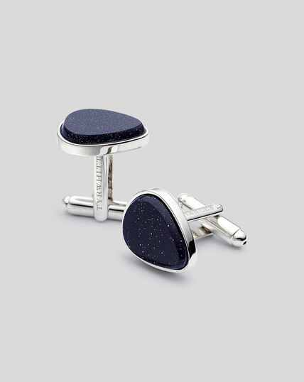 Goldstone Teardrop Cufflinks - Blue