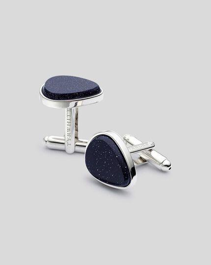 Goldstone Teardrop Cufflinks - Blue