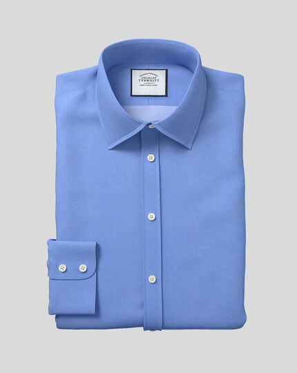 Classic Collar Mini Diamond Weave Shirt - Blue