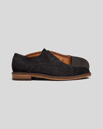 Derby-Schuhe mit gewebtem Wildleder-Oberschuh  - Schwarz