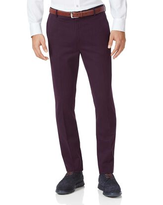 Aubergine extra slim fit flat front non-iron chinos