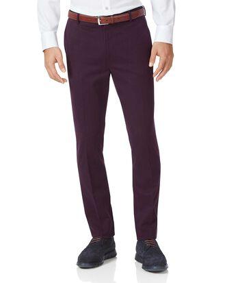 Pantalon chino aubergine extra slim fit à devant plat sans repassage