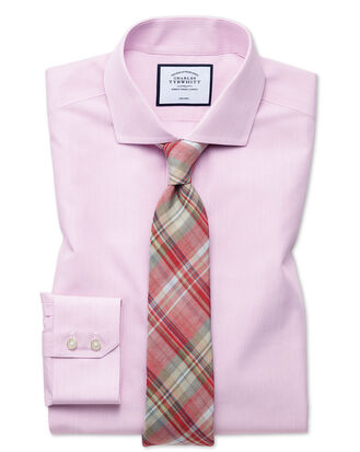 Slim fit non-iron natural cool poplin pink shirt