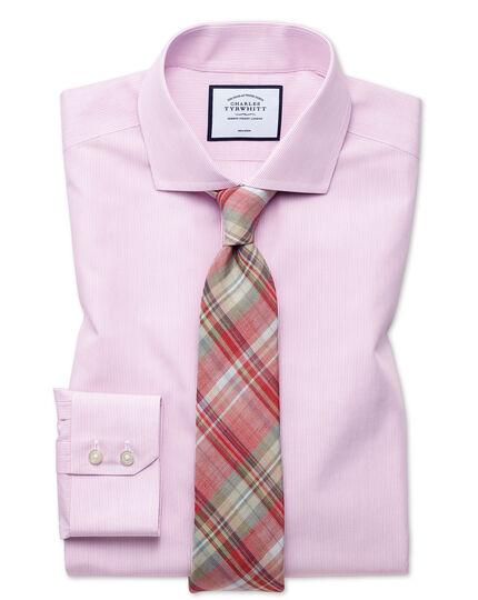 Slim fit non-iron Tyrwhitt Cool poplin pink stripe shirt