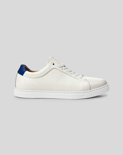 Leather Trainers  - White