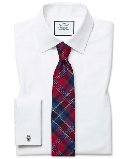 Slim fit white Egyptian cotton poplin shirt