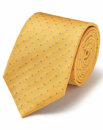 Cravate classique en soie anti-taches texturée jaune et bleu ciel à pois