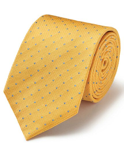 Yellow and sky silk textured spot stain resistant classic tie