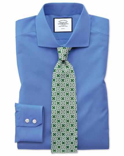 Bügelfreies Extra Slim Fit Popeline-Hemd mit Haifischkragen in Blau