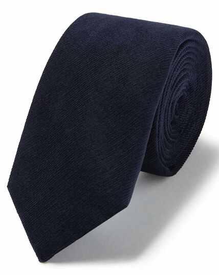 Schlichte schmale Krawatte aus Baumwollcord in Marineblau
