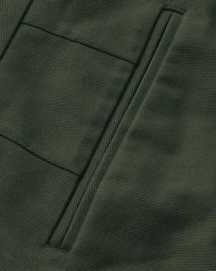 Dark green slim fit flat front non-iron chinos