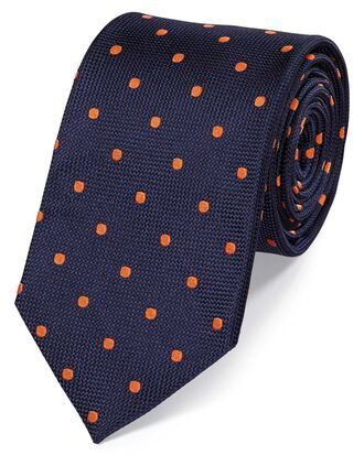 Navy and orange silk spot classic tie