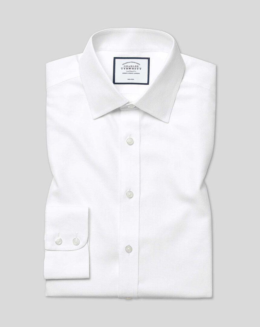 Bügelfreies Hemd mit Kent Kragen aus Dash-Gewebe - Weiß